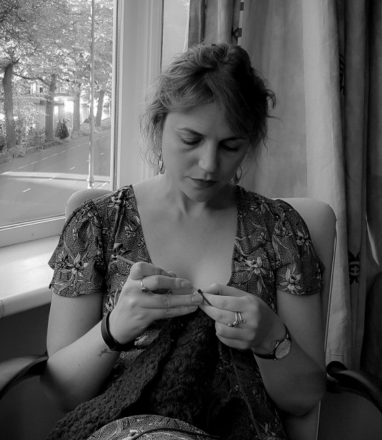 Me Crocheting B&W